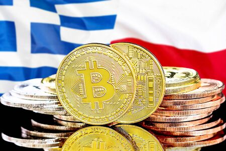 Concept for investors in cryptocurrency and Blockchain technology in the Greece and Poland. Bitcoins on the background of the flag Greece and Poland.