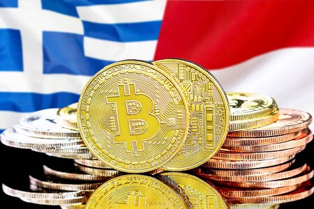 Concept for investors in cryptocurrency and Blockchain technology in the Greece and Monaco. Bitcoins on the background of the flag Greece and Monaco. Zdjęcie Seryjne - 124964494