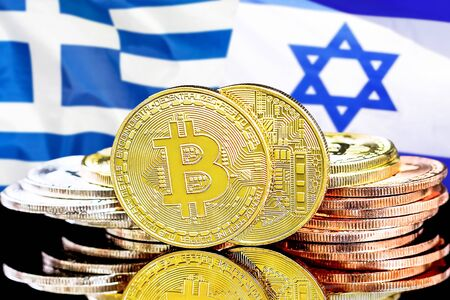 Concept for investors in cryptocurrency and Blockchain technology in the Greece and Israel. Bitcoins on the background of the flag Greece and Israel. Zdjęcie Seryjne - 124964498