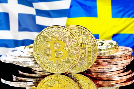 Concept for investors in cryptocurrency and Blockchain technology in the Greece and Sweden. Bitcoins on the background of the flag Greece and Sweden. Zdjęcie Seryjne - 124964500