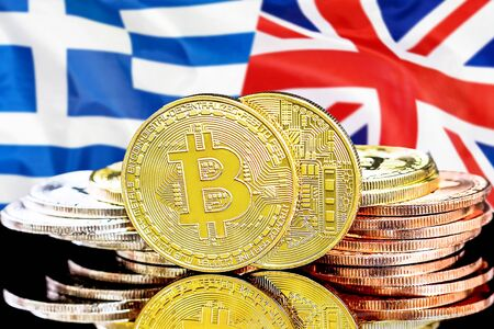 Concept for investors in cryptocurrency and Blockchain technology in the Greece and United Kingdom. Bitcoins on the background of the flag Greece and UK. Stock Photo