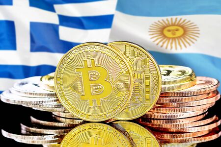 Concept for investors in cryptocurrency and Blockchain technology in the Greece and Argentina. Bitcoins on the background of the flag Greece and Argentina. Zdjęcie Seryjne - 124964503
