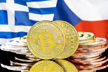 Concept for investors in cryptocurrency and Blockchain technology in the Greece and Czech Republic. Bitcoins on the background of the flag Greece and Czech Republic. Zdjęcie Seryjne - 124964505