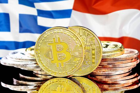 Concept for investors in cryptocurrency and Blockchain technology in the Greece and Austria. Bitcoins on the background of the flag Greece and Austria.