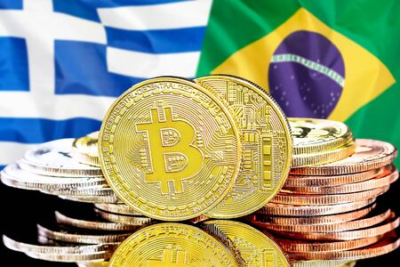 Concept for investors in cryptocurrency and Blockchain technology in the Greece and Brazil. Bitcoins on the background of the flag Greece and Brazil. Zdjęcie Seryjne - 124964513