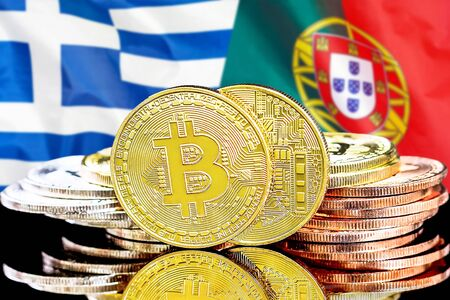 Concept for investors in cryptocurrency and Blockchain technology in the Greece and Portugal. Bitcoins on the background of the flag Greece and Portugal.