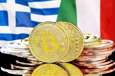 Concept for investors in cryptocurrency and Blockchain technology in the Greece and Italy. Bitcoins on the background of the flag Greece and Italy. Stock Photo