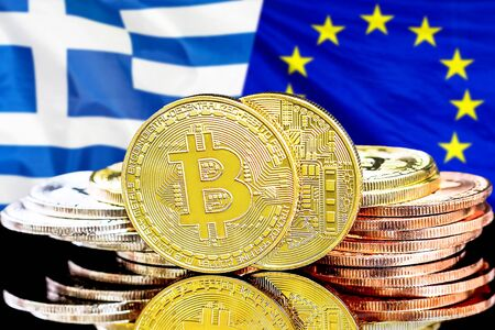Concept for investors in cryptocurrency and Blockchain technology in the Greece and European Union. Bitcoins on the background of the flag Greece and European Union.