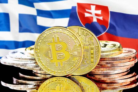 Concept for investors in cryptocurrency and Blockchain technology in the Greece and Slovakia. Bitcoins on the background of the flag Greece and Slovakia. Zdjęcie Seryjne - 124964519