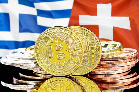 Concept for investors in cryptocurrency and Blockchain technology in the Greece and Switzerland. Bitcoins on the background of the flag Greece and Switzerland.