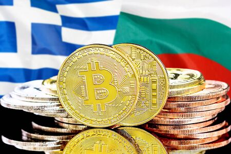 Concept for investors in cryptocurrency and Blockchain technology in the Greece and Bulgaria. Bitcoins on the background of the flag Greece and Bulgaria.