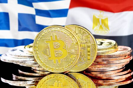 Concept for investors in cryptocurrency and Blockchain technology in the Greece and Egypt. Bitcoins on the background of the flag Greece and Egypt. Zdjęcie Seryjne - 124964522