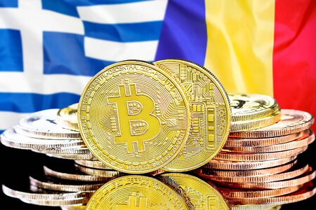 Concept for investors in cryptocurrency and Blockchain technology in the Greece and Moldova. Bitcoins on the background of the flag Greece and Moldova.