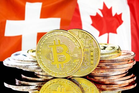 Concept for investors in cryptocurrency and Blockchain technology in the Switzerland and Canada. Bitcoins on the background of the flag Switzerland and Canada.