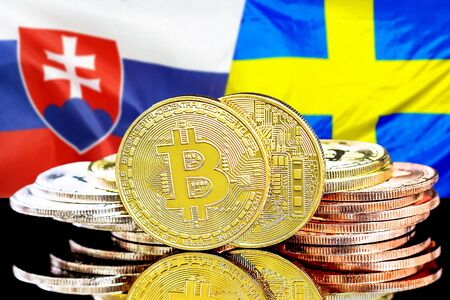 Concept for investors in cryptocurrency and Blockchain technology in the Slovakia and Sweden. Bitcoins on the background of the flag Slovakia and Sweden.