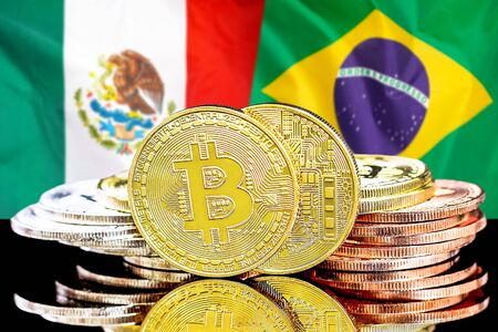 Concept for investors in cryptocurrency and Blockchain technology in the Mexico and Brazil. Bitcoins on the background of the flag Mexico and Brazil. Stock fotó