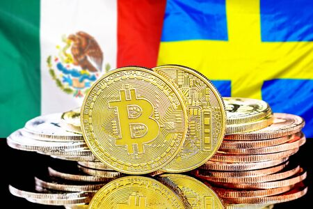Concept for investors in cryptocurrency and Blockchain technology in the Mexico and Sweden. Bitcoins on the background of the flag Mexico and Sweden.