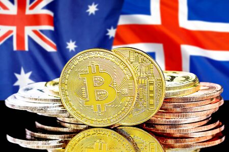 Concept for investors in cryptocurrency and Blockchain technology in the Iceland and Australia. Bitcoins on the background of the flag Iceland and Australia. Stock fotó
