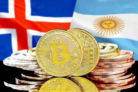 Concept for investors in cryptocurrency and Blockchain technology in the Iceland and Argentina. Bitcoins on the background of the flag Iceland and Argentina.