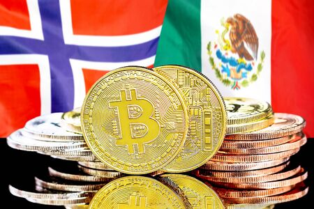 Concept for investors in cryptocurrency and Blockchain technology in the Norway and Mexico. Bitcoins on the background of the flag Norway and Mexico.