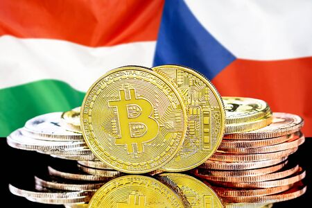 Concept for investors in cryptocurrency and Blockchain technology in the Hungary and Czech Republic. Bitcoins on the background of the flag Hungary and Czech Republic.
