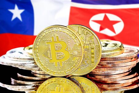 Concept for investors in cryptocurrency and Blockchain technology in the Chile and North Korea. Bitcoins on the background of the flag Chile and North Korea.