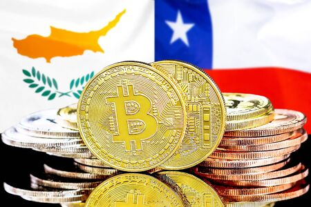 Concept for investors in cryptocurrency and Blockchain technology in the Cyprus and Chile. Bitcoins on the background of the flag Cyprus and Chile.