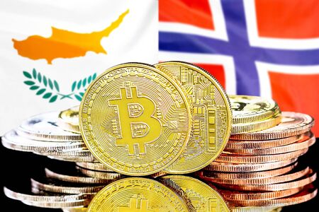 Concept for investors in cryptocurrency and Blockchain technology in the Cyprus and Norway. Bitcoins on the background of the flag Cyprus and Norway.