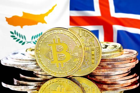 Concept for investors in cryptocurrency and Blockchain technology in the Cyprus and Iceland. Bitcoins on the background of the flag Cyprus and Iceland.
