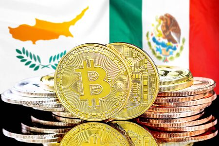 Concept for investors in cryptocurrency and Blockchain technology in the Cyprus and Mexico. Bitcoins on the background of the flag Cyprus and Mexico. Banco de Imagens