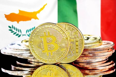 Concept for investors in cryptocurrency and Blockchain technology in the Cyprus and Italy. Bitcoins on the background of the flag Cyprus and Italy.