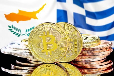 Concept for investors in cryptocurrency and Blockchain technology in the Cyprus and Greece. Bitcoins on the background of the flag Cyprus and Greece. Banco de Imagens