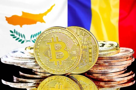 Concept for investors in cryptocurrency and Blockchain technology in the Cyprus and Moldova. Bitcoins on the background of the flag Cyprus and Moldova. Foto de archivo