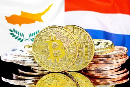 Concept for investors in cryptocurrency and Blockchain technology in the Cyprus and Dutch. Bitcoins on the background of the flag Cyprus and Netherlands.