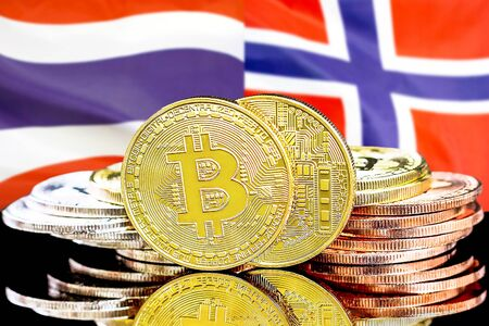 Concept for investors in cryptocurrency and Blockchain technology in the Thailand and Norway. Bitcoins on the background of the flag Thailand and Norway.