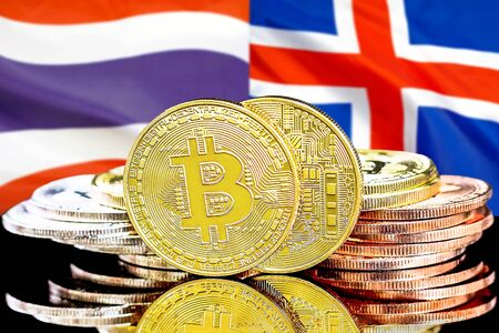 Concept for investors in cryptocurrency and Blockchain technology in the Thailand and Iceland. Bitcoins on the background of the flag Thailand and Iceland.