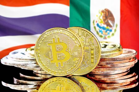 Concept for investors in cryptocurrency and Blockchain technology in the Thailand and Mexico. Bitcoins on the background of the flag Thailand and Mexico. Banco de Imagens