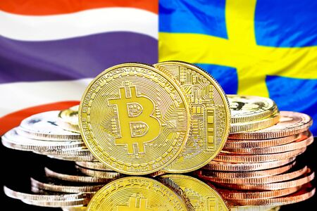 Concept for investors in cryptocurrency and Blockchain technology in the Thailand and Sweden. Bitcoins on the background of the flag Thailand and Sweden. Standard-Bild