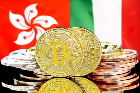 Concept for investors in cryptocurrency and Blockchain technology in the Hong Kong and Italy. Bitcoins on the background of the flag Hong Kong and Italy.
