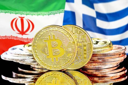 Concept for investors in cryptocurrency and Blockchain technology in the Iran and Greece. Bitcoins on the background of the flag Iran and Greece.