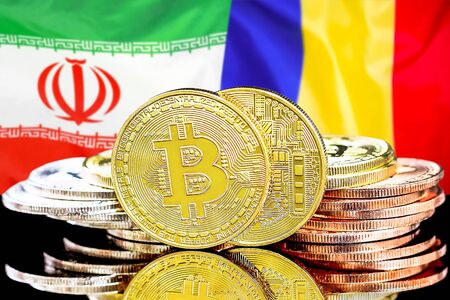 Concept for investors in cryptocurrency and Blockchain technology in the Iran and Moldova. Bitcoins on the background of the flag Iran and Moldova.