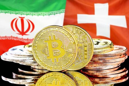 Concept for investors in cryptocurrency and Blockchain technology in the Iran and Switzerland. Bitcoins on the background of the flag Iran and Switzerland. Banco de Imagens