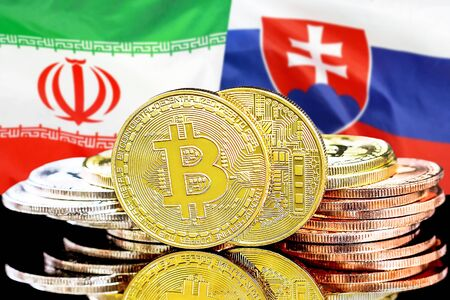 Concept for investors in cryptocurrency and Blockchain technology in the Iran and Slovakia. Bitcoins on the background of the flag Iran and Slovakia. Banco de Imagens