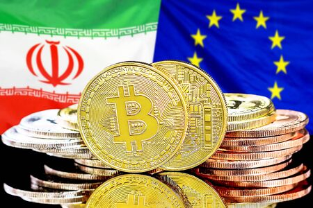 Concept for investors in cryptocurrency and Blockchain technology in the Iran and European Union. Bitcoins on the background of the flag Iran and European Union.