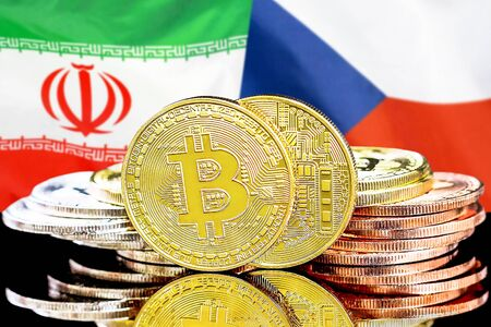 Concept for investors in cryptocurrency and Blockchain technology in the Iran and Czech Republic. Bitcoins on the background of the flag Iran and Czech Republic.