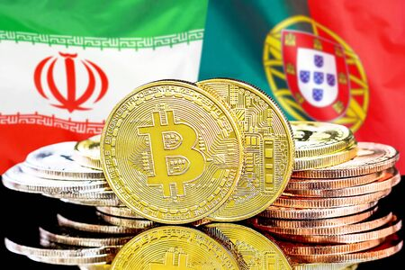 Concept for investors in cryptocurrency and Blockchain technology in the Iran and Portugal. Bitcoins on the background of the flag Iran and Portugal.