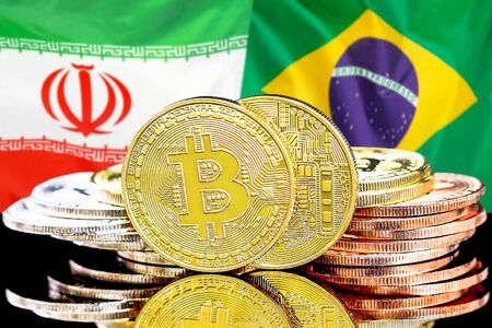 Concept for investors in cryptocurrency and Blockchain technology in the Iran and Brazil. Bitcoins on the background of the flag Iran and Brazil.