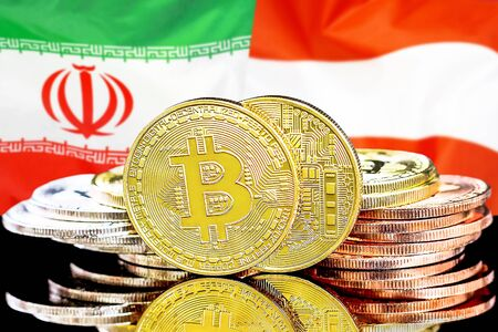 Concept for investors in cryptocurrency and Blockchain technology in the Iran and Austria. Bitcoins on the background of the flag Iran and Austria.
