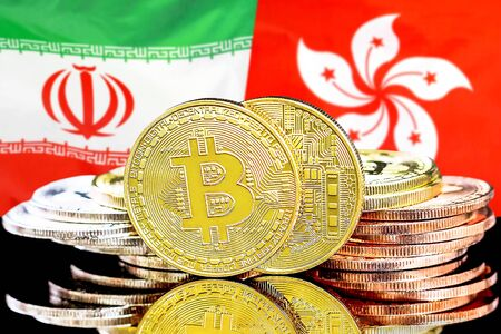 Concept for investors in cryptocurrency and Blockchain technology in the Iran and Hong Kong. Bitcoins on the background of the flag Iran and Hong Kong.