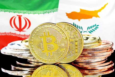 Concept for investors in cryptocurrency and Blockchain technology in the Iran and Cyprus. Bitcoins on the background of the flag Iran and Cyprus.